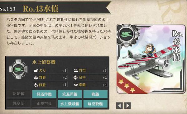 【艦これ】Ro.43水偵レシピ徹底解析