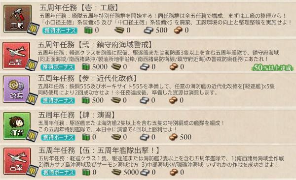 【艦これ】五周年任務 攻略